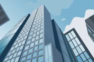 Stock Illustration of High skyscrapers on a background of the blue sky
