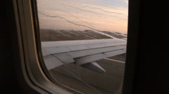 Airplane window, water streaming Stock Footage