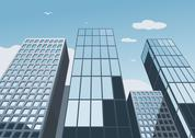 Stock Illustration of Skyscrapers on a background of the blue sky