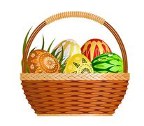 Stock Illustration of Basket with easter eggs