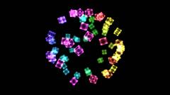 Bright Rotating Cubes - Loop Rainbow Stock Footage