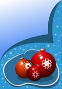 Christmas balls on a blue festive background - stock illustration