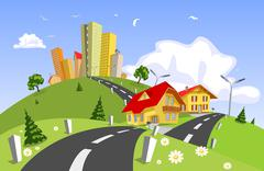 Stock Illustration of Colorful abstract vector city
