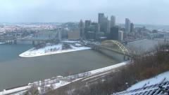 4K Pittsburgh Winter Establishing Shot 3990 - stock footage