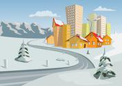 Stock Illustration of Colorful winter vector city