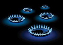 Blue flame of gas Stock Illustration