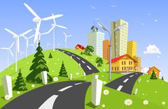 Wind power plant Stock Illustration