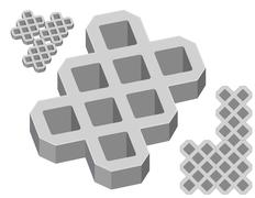 Stock Illustration of Gray concrete pavers on a white background