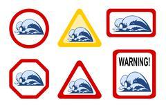 Dangers of nature - wave breaker Stock Illustration