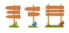 Stock Illustration of Set of wooden sign