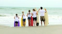 Healthy Caucasian Family Bodyboards Beach Vacation Fall Stock Footage
