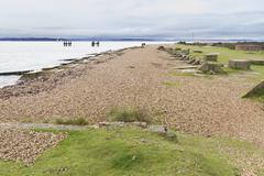 Lepe beach,wwii  launch point for mulberry harbours and departure of d-day tr Stock Photos