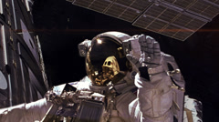 Astronaut Spacewalk by Mars, HD Stock Footage