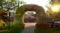 Antler Arch in Jackson, Wyoming Stock Footage