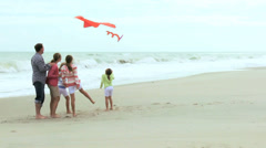 Happy Caucasian Family Group Warm Clothes Flying Kite Fall - stock footage