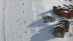 Ski center track, skiers timelapse Stock Footage