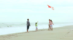 Happy Caucasian Family Group Warm Clothes Flying Kite Summer Stock Footage