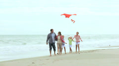 Happy Caucasian Family Group Warm Clothes Flying Kite Fall Stock Footage