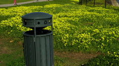 Recycling Receptacle in Field - stock footage