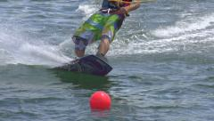 SLOW MOTION: Wakeboarding close up Stock Footage