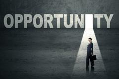 Stock Illustration of businesswoman in opportunity door