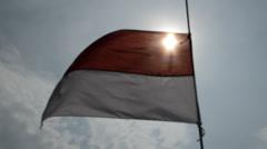 Indonesian flag 3 Stock Footage