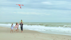 Healthy Caucasian Family Playing Toy Kite Fall Beach Stock Footage