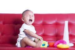 crying little baby - stock photo