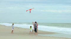Happy Caucasian Family Group Warm Clothes Flying Kite Summer - stock footage
