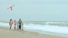 Family Three Caucasian Sisters Parents Beach Toy Kite Stock Footage