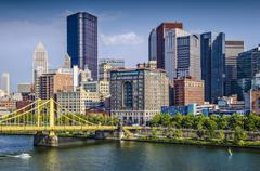 pittsburgh, pennsylvania, usa daytime downtown scene over the allegheny river - stock photo