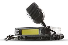 cb radio  transceiver station and loud speaker holding on air on white backgr - stock photo