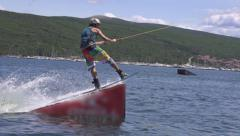 SLOW MOTION: Wakeboard jump Stock Footage