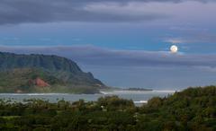 Panorama of hanalei on island of kauai Stock Photos