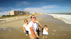 Wide Angle Portrait Happy Caucasian Parents Girls Outdoors Summer Beach Stock Footage