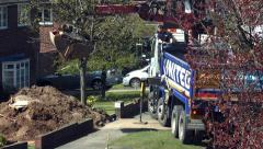Grab lorry removing soil Stock Footage