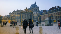 Versailles, France - Crowds of Tourists, time lapse view, pan Stock Footage
