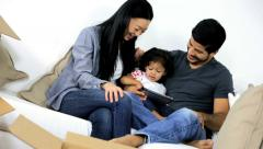 Happy Asian Chinese Family Surrounded Home Moving Cartons Stock Footage