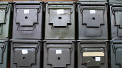 American G.I. Surplus | Ammo Cans slider Stock Footage