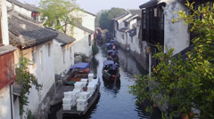 Cruise boat in Chinese ancient town, Zhouzhuang Stock Footage