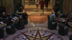 Luxury cruise ship lobby passengers BM HD 1715 Stock Footage