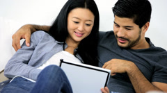 Happy Asian Chinese Couple Touch Screen Tablet Websites Close Up - stock footage