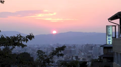 sunset on the hilltop of Kiyomizu temple in Kyoto - stock footage
