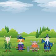Fantasy heroes in forest Stock Illustration