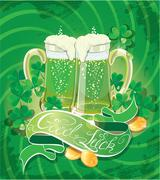 holiday card with calligraphic words good luck and beer mugs, shamrock, golde - stock illustration