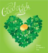Holiday card with calligraphic words good luck and shamrock heart with golden Stock Illustration