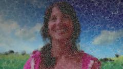 Image of Pretty Girl Emits Bubble Particles Stock Footage