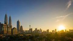 Kuala Lumpur Skyline Beautiful Sunset Stock Footage
