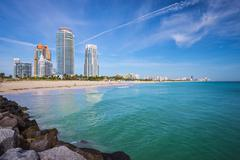 Miami beach skyline Stock Photos