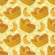 Seamless background, bread in a basket Stock Illustration